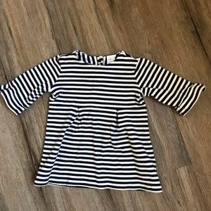 H&M Navy and White Striped Dress w/ Flutter Sleeve